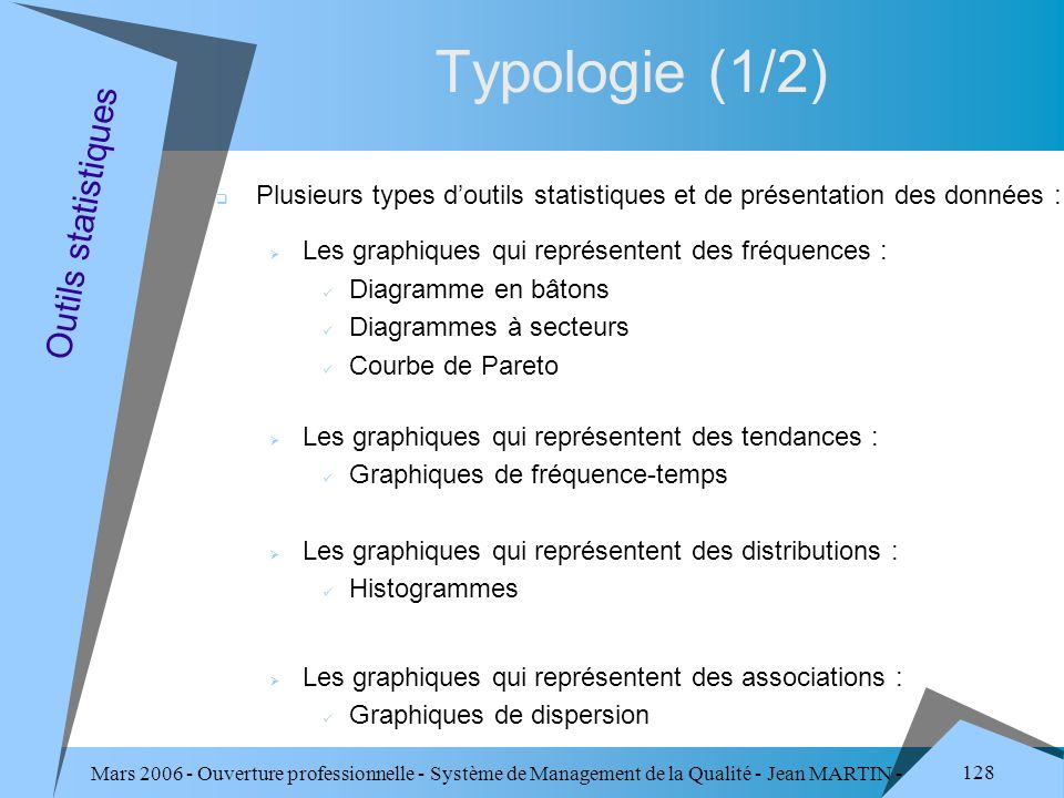 Typologie (1/2) Outils statistiques