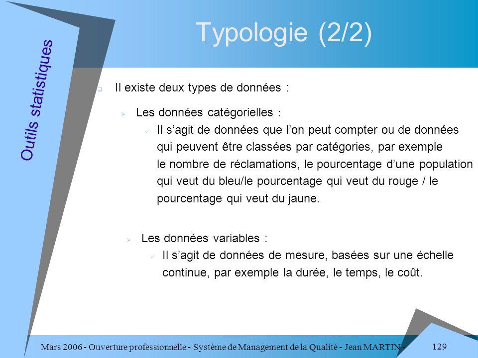 Typologie (2/2) Outils statistiques Il existe deux types de données :