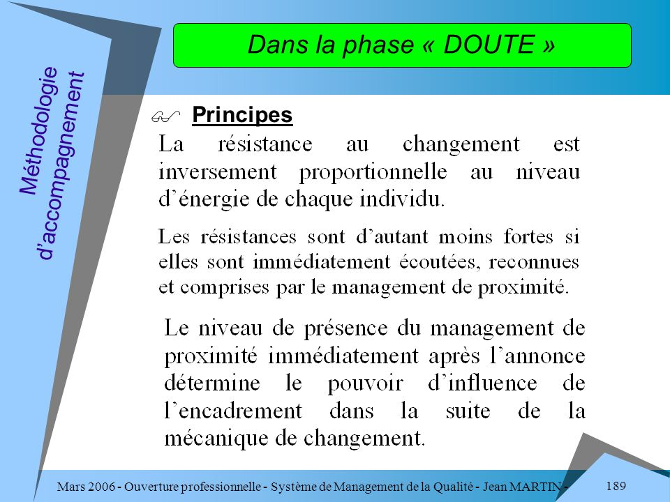 Dans la phase « DOUTE » Principes Méthodologie d'accompagnement