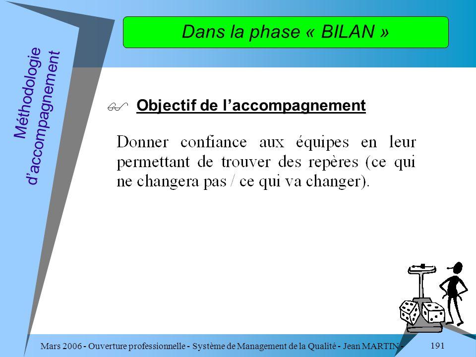 Dans la phase « BILAN » Objectif de l'accompagnement