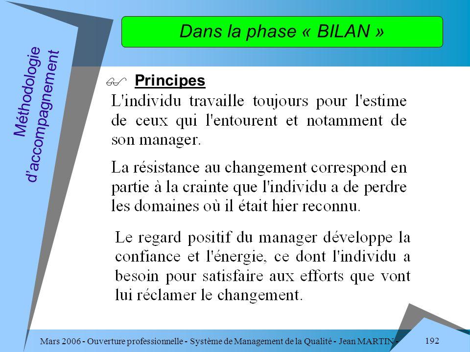 Dans la phase « BILAN » Principes Méthodologie d'accompagnement