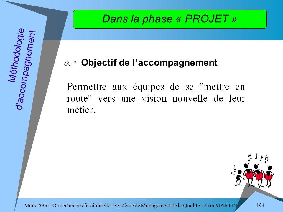 Dans la phase « PROJET » Objectif de l'accompagnement
