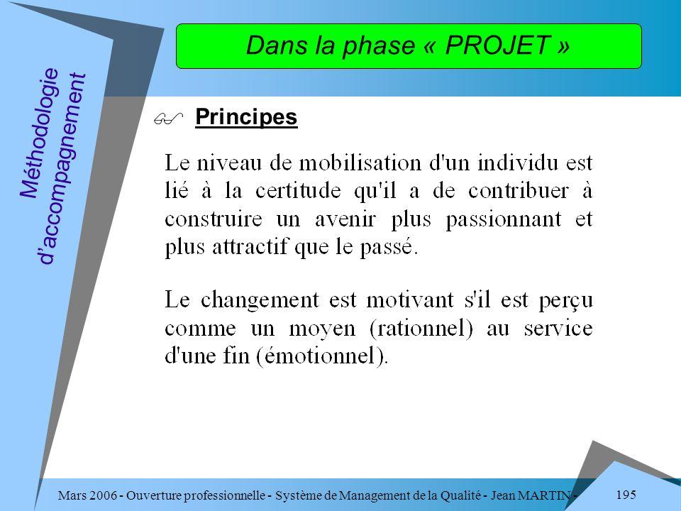 Dans la phase « PROJET » Principes Méthodologie d'accompagnement
