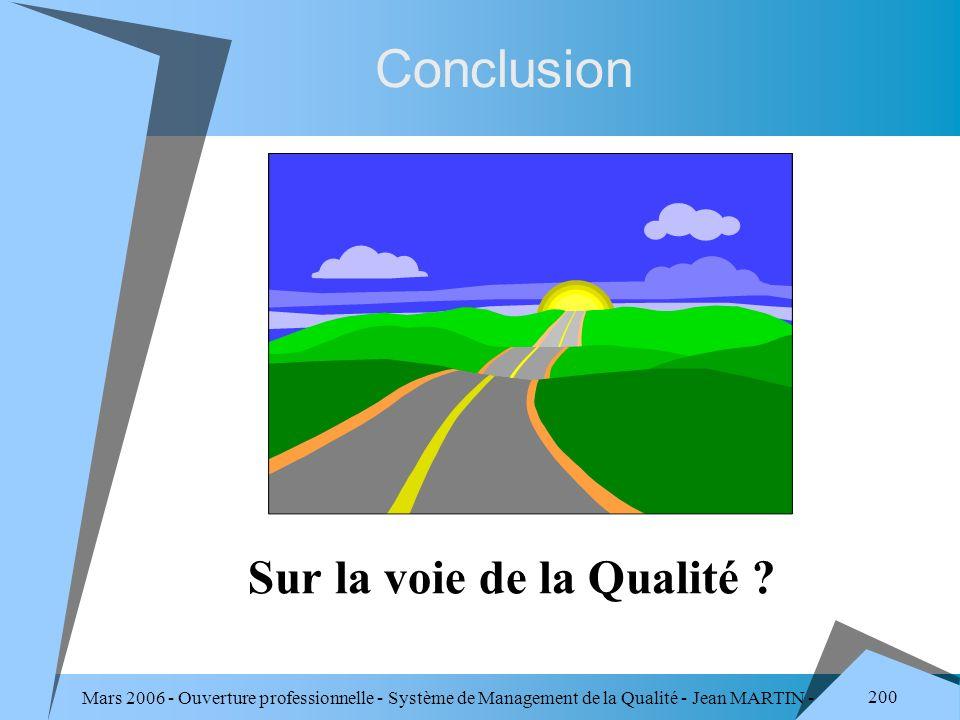 Conclusion Sur la voie de la Qualité