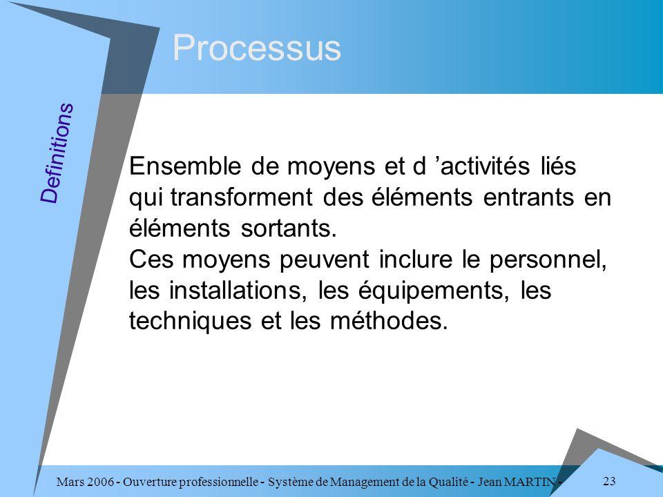 ProcessusEnsemble de moyens et d 'activités liés qui transforment des éléments entrants en éléments sortants.