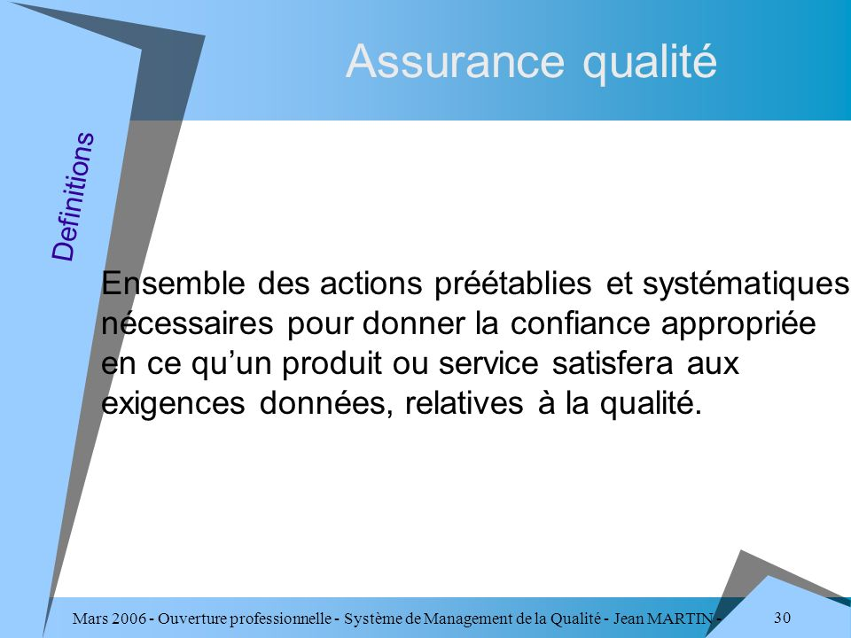 Assurance qualité Definitions.