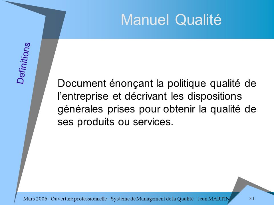 Manuel Qualité Definitions.