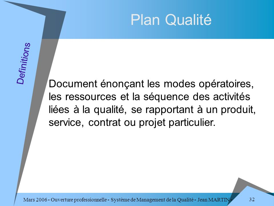 Plan Qualité Definitions.