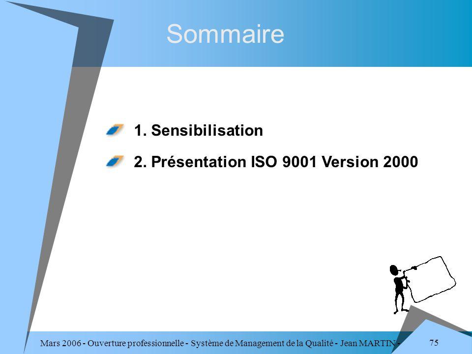 Sommaire 1. Sensibilisation 2. Présentation ISO 9001 Version 2000