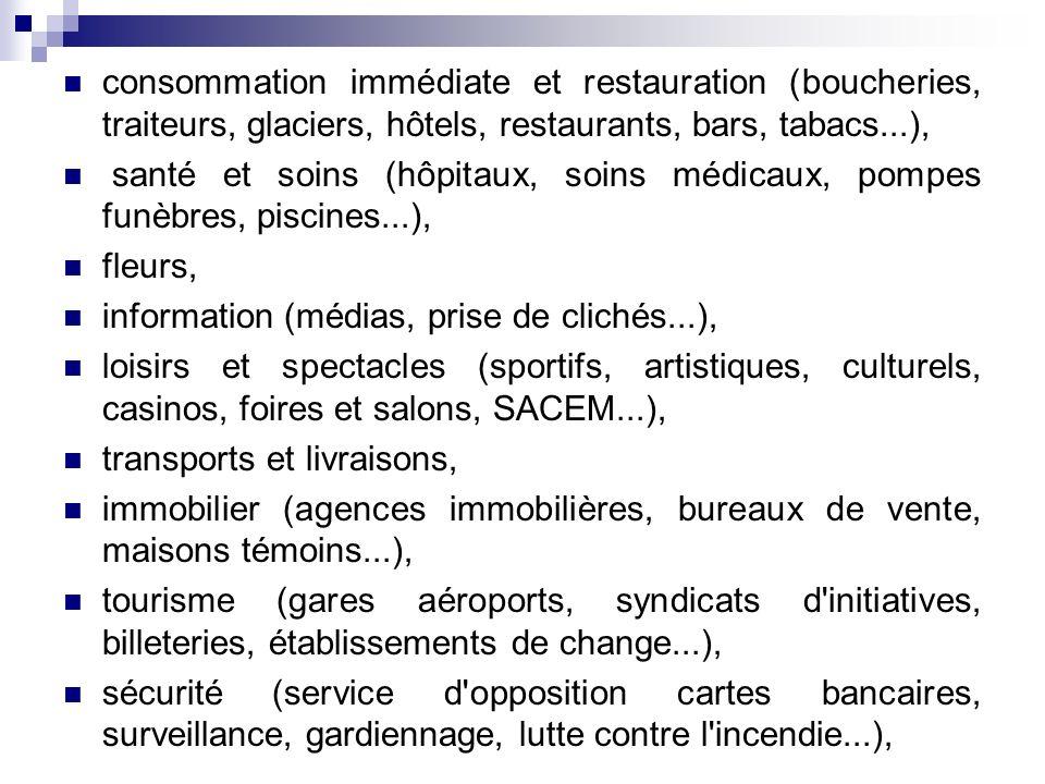 consommation immédiate et restauration (boucheries, traiteurs, glaciers, hôtels, restaurants, bars, tabacs...),
