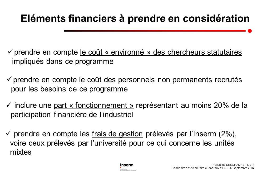 Eléments financiers à prendre en considération