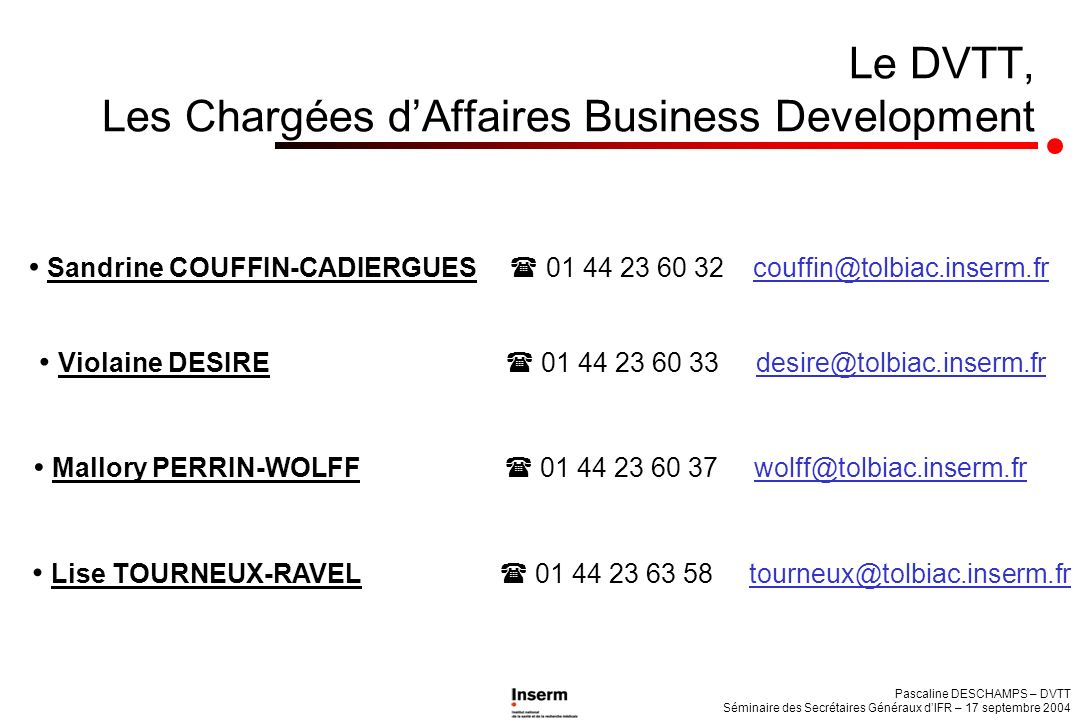 Le DVTT, Les Chargées d'Affaires Business Development