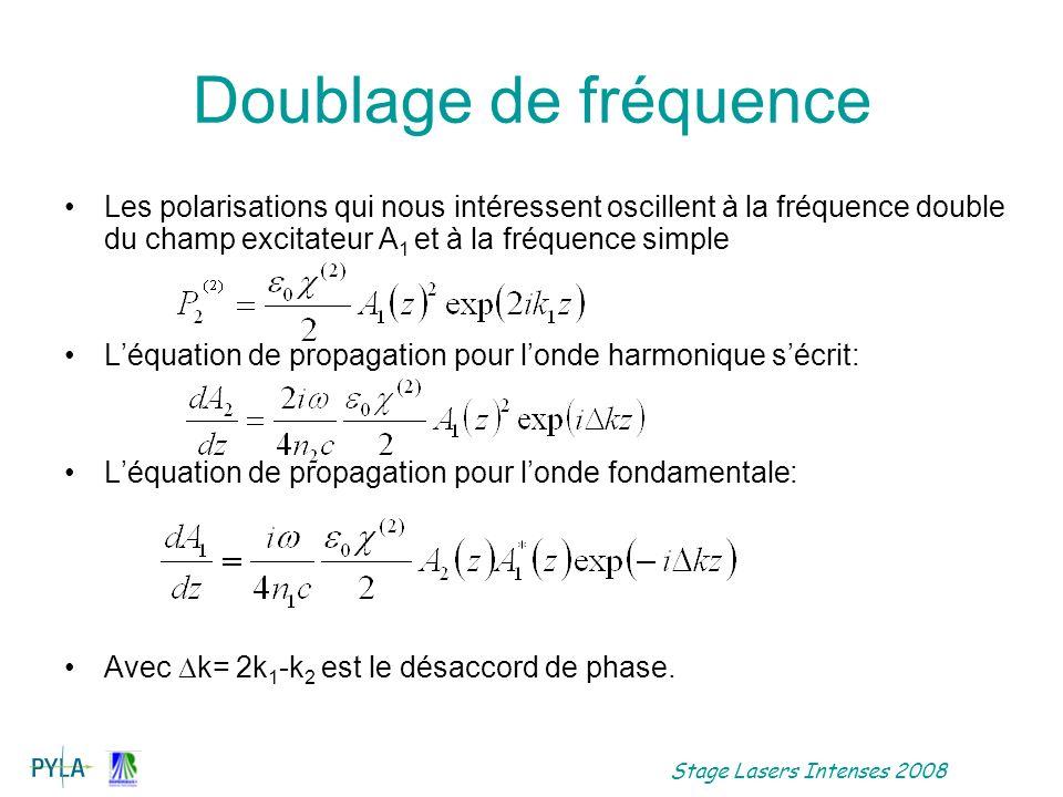 Doublage de fréquence Les polarisations qui nous intéressent oscillent à la fréquence double du champ excitateur A1 et à la fréquence simple.