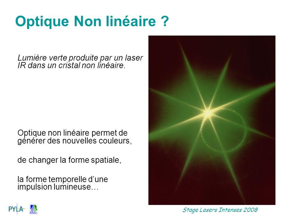 Optique Non linéaire Lumière verte produite par un laser IR dans un cristal non linéaire.