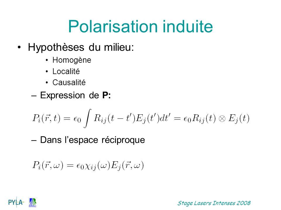 Polarisation induite Hypothèses du milieu: Expression de P: