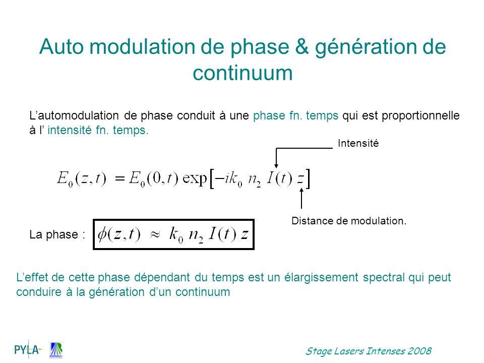 Auto modulation de phase & génération de continuum