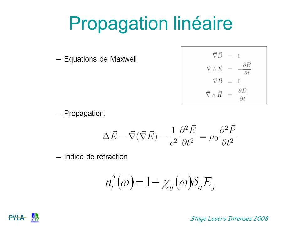 Propagation linéaire Equations de Maxwell Propagation: