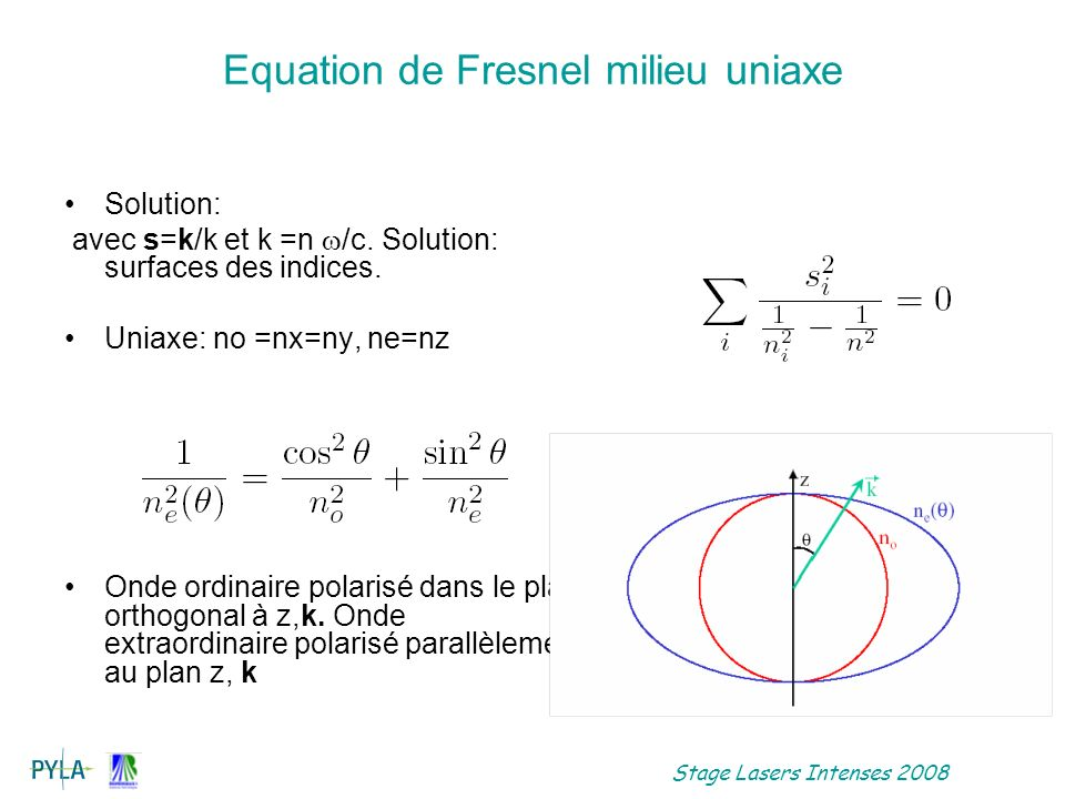 Equation de Fresnel milieu uniaxe