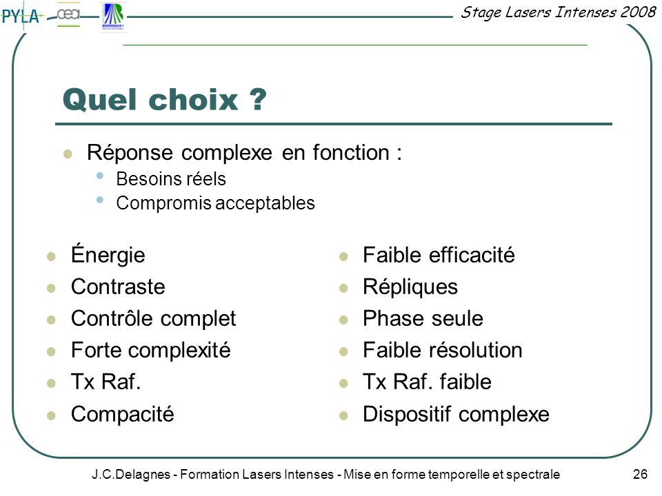 Quel choix Réponse complexe en fonction : Énergie Contraste
