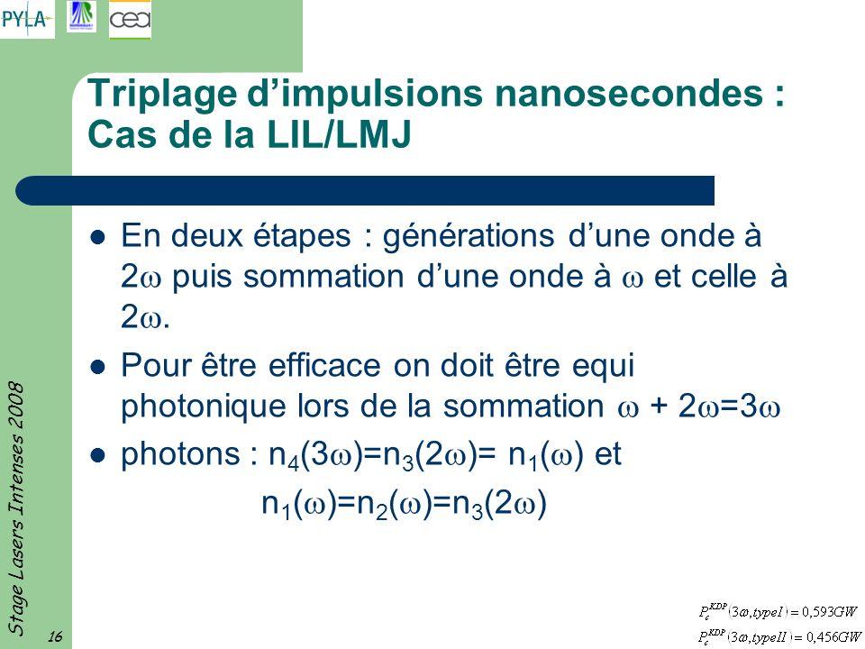 Triplage d'impulsions nanosecondes : Cas de la LIL/LMJ
