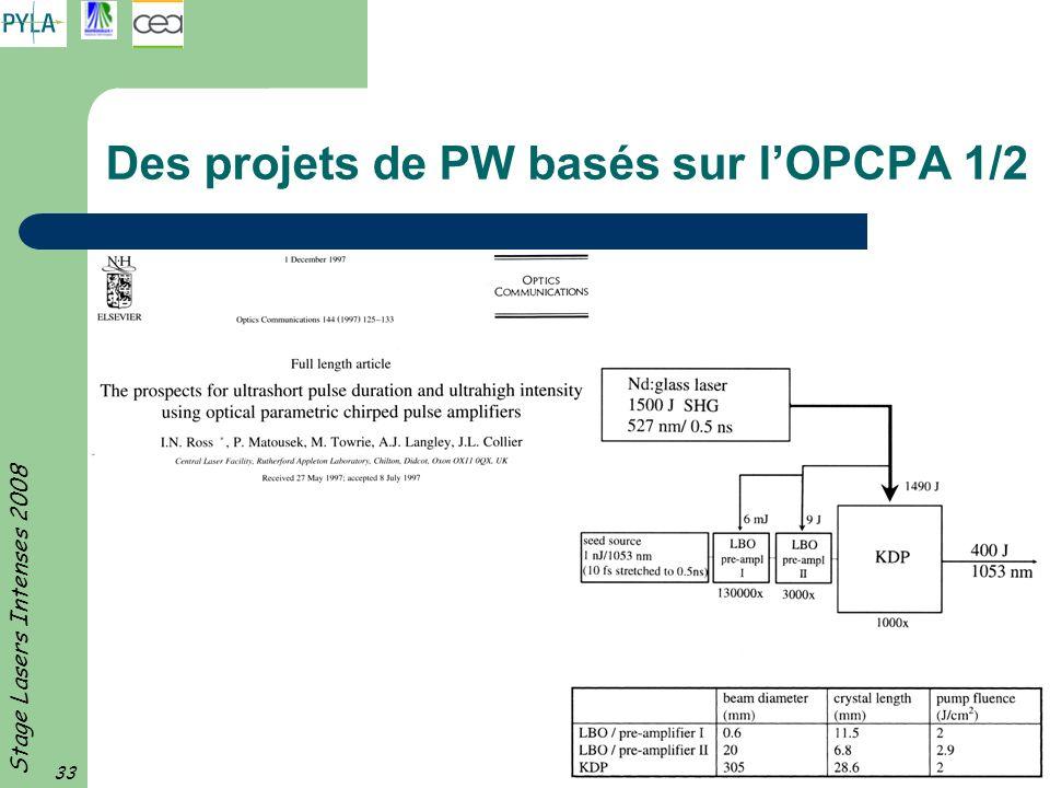 Des projets de PW basés sur l'OPCPA 1/2