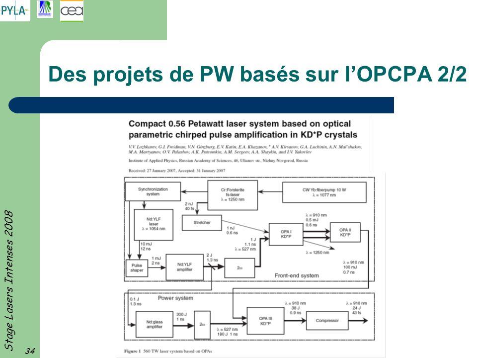 Des projets de PW basés sur l'OPCPA 2/2