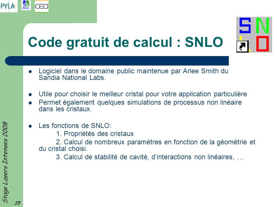 Code gratuit de calcul : SNLO