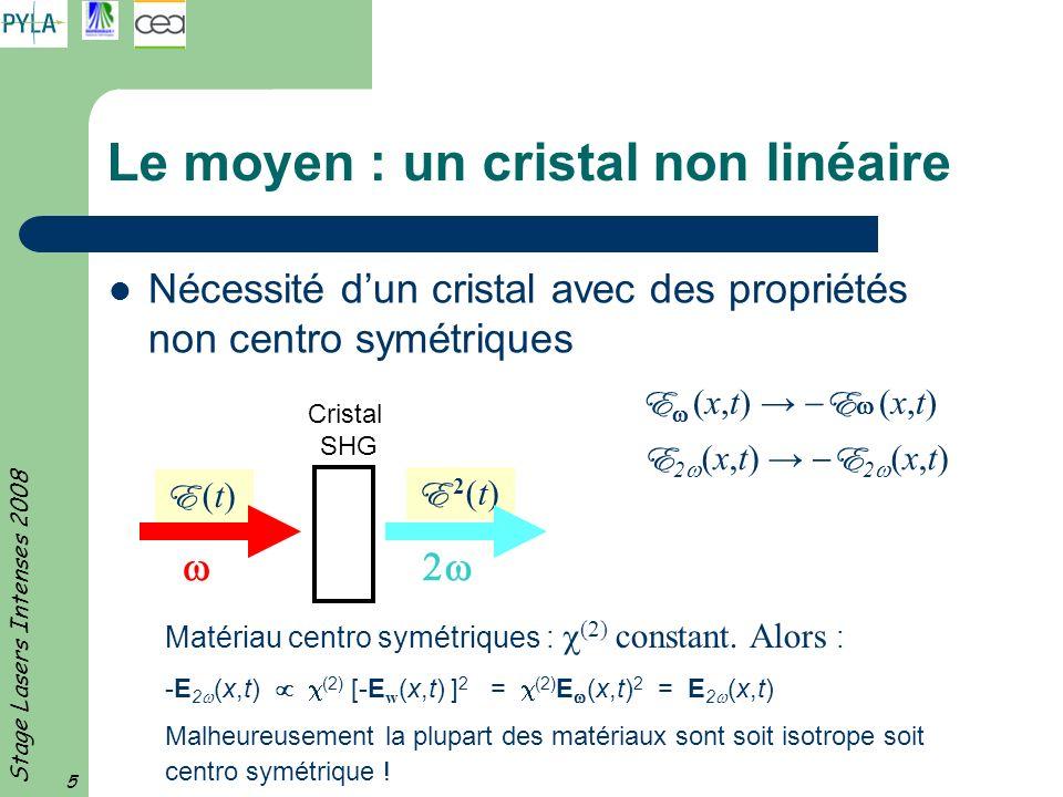 Le moyen : un cristal non linéaire