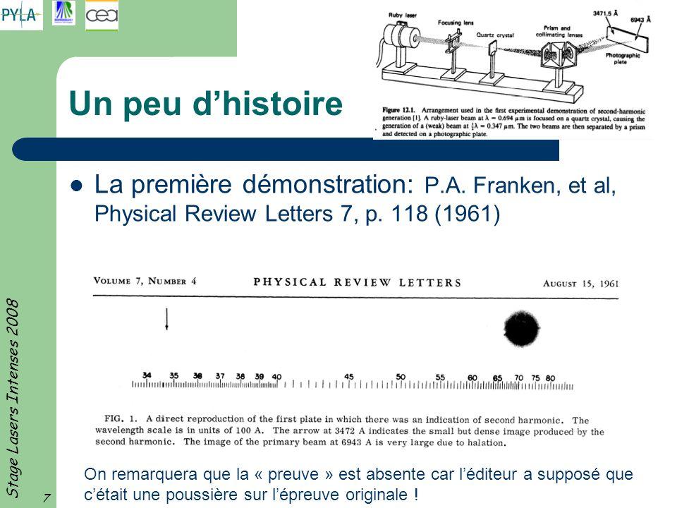 Un peu d'histoire La première démonstration: P.A. Franken, et al, Physical Review Letters 7, p. 118 (1961)