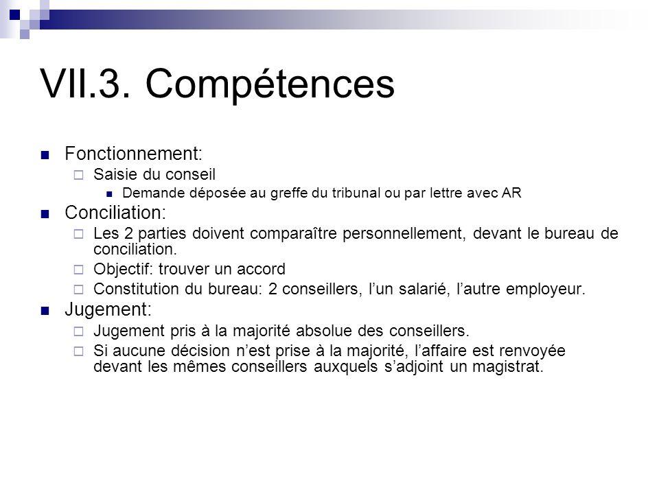 VII.3. Compétences Fonctionnement: Conciliation: Jugement: