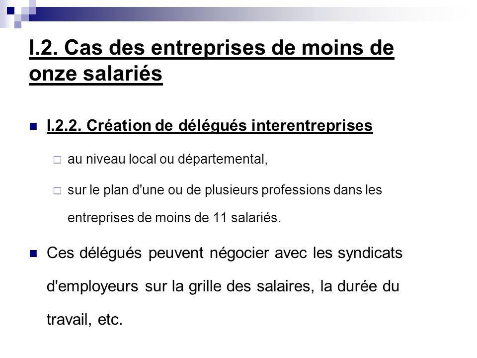 I.2. Cas des entreprises de moins de onze salariés