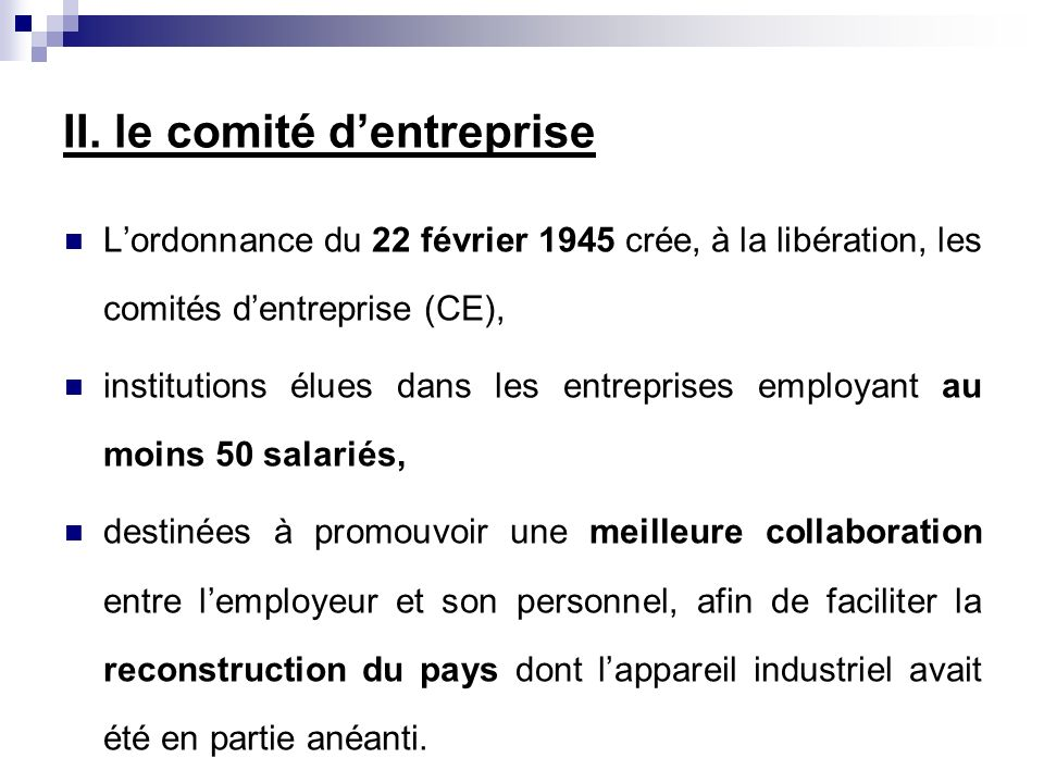 II. le comité d'entreprise
