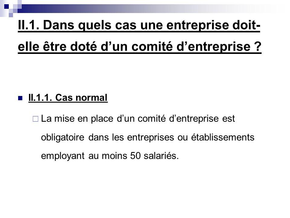 II.1. Dans quels cas une entreprise doit-elle être doté d'un comité d'entreprise