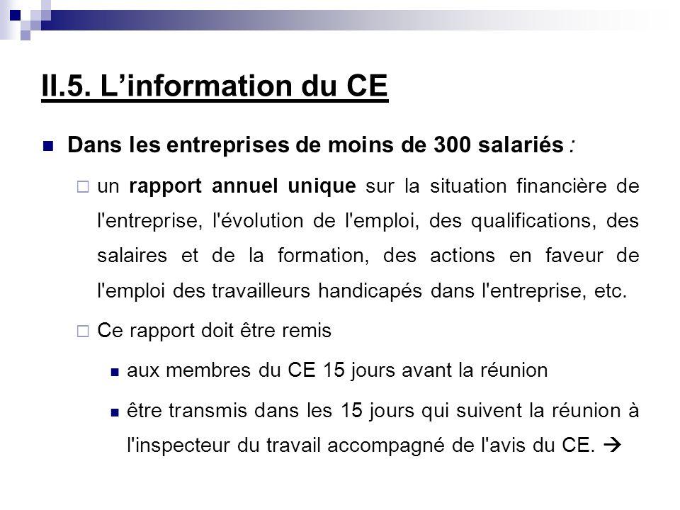 II.5. L'information du CE Dans les entreprises de moins de 300 salariés :