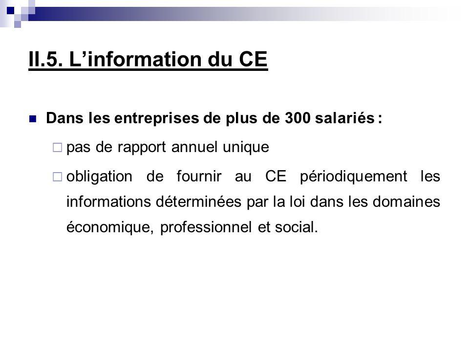 II.5. L'information du CE Dans les entreprises de plus de 300 salariés : pas de rapport annuel unique.