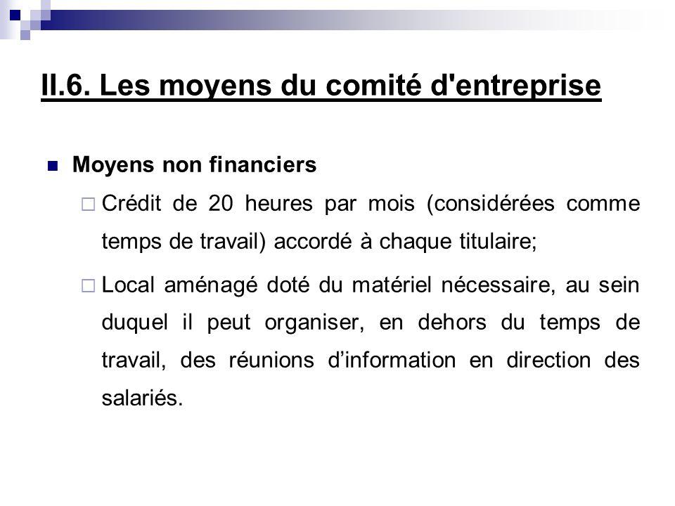 II.6. Les moyens du comité d entreprise