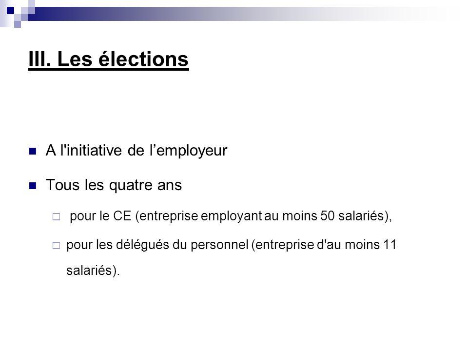 III. Les élections A l initiative de l'employeur Tous les quatre ans