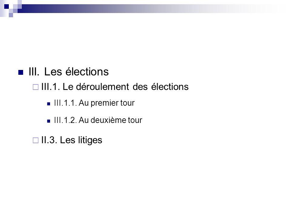 III. Les élections III.1. Le déroulement des élections