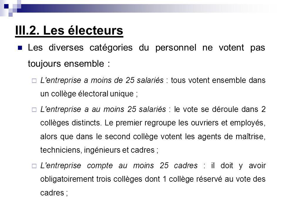 III.2. Les électeurs Les diverses catégories du personnel ne votent pas toujours ensemble :