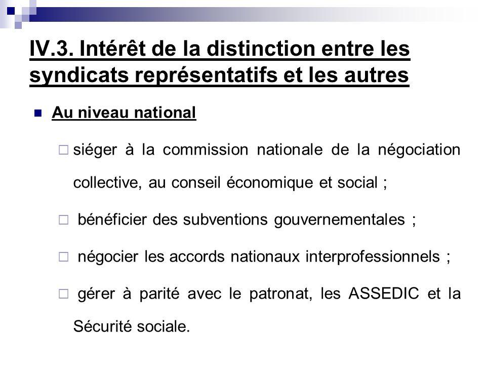 IV.3. Intérêt de la distinction entre les syndicats représentatifs et les autres