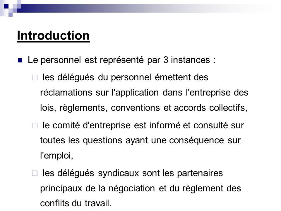 Introduction Le personnel est représenté par 3 instances :