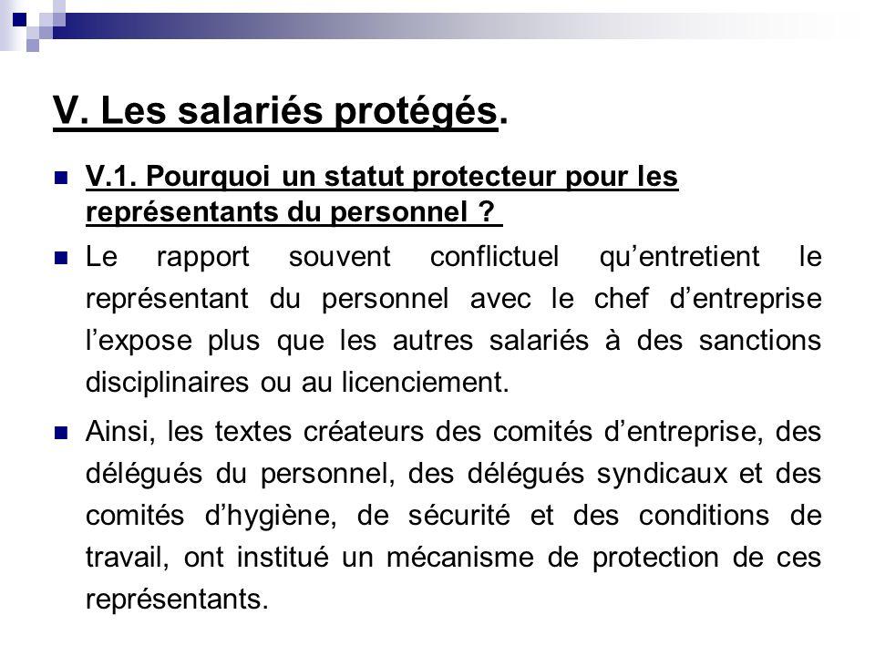 V. Les salariés protégés.