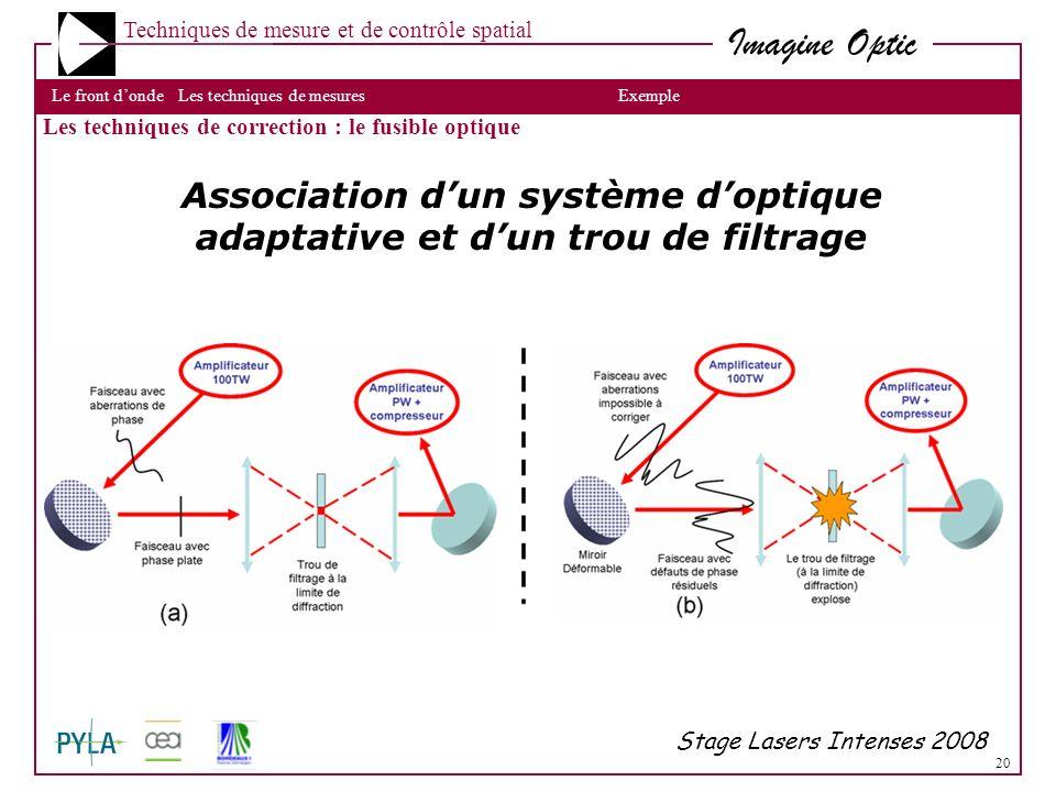 Association d'un système d'optique adaptative et d'un trou de filtrage