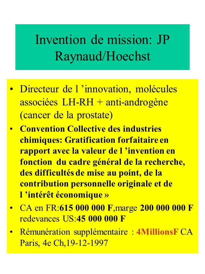 Invention de mission: JP Raynaud/Hoechst