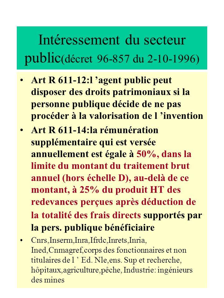Intéressement du secteur public(décret 96-857 du 2-10-1996)