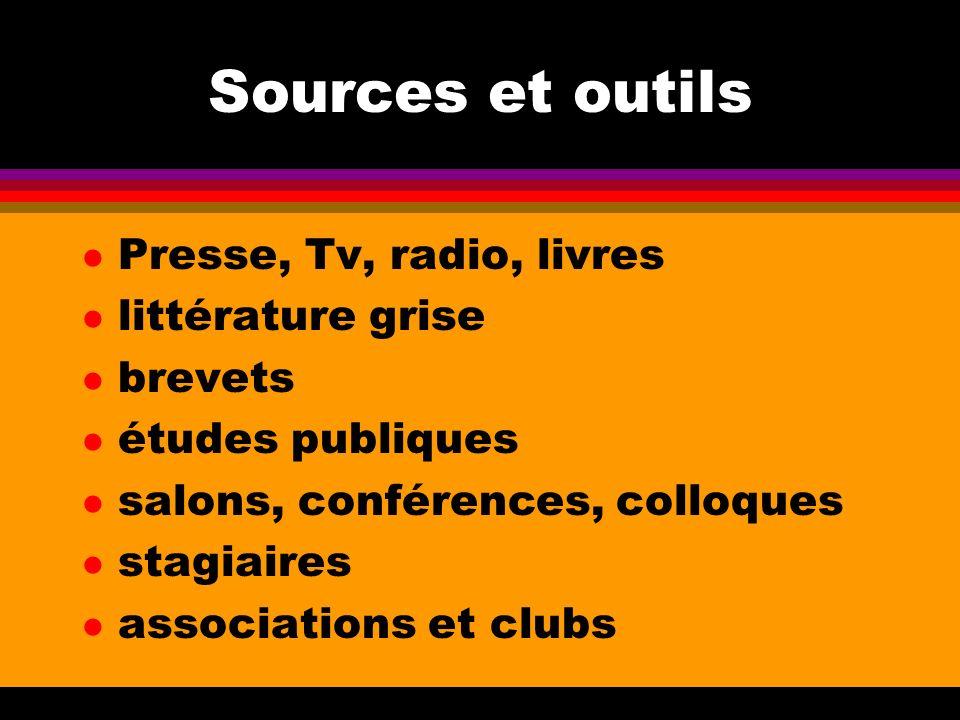 Sources et outils Presse, Tv, radio, livres littérature grise brevets