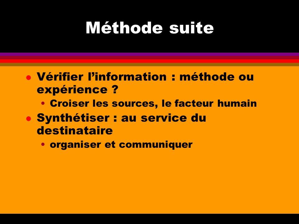 Méthode suite Vérifier l'information : méthode ou expérience