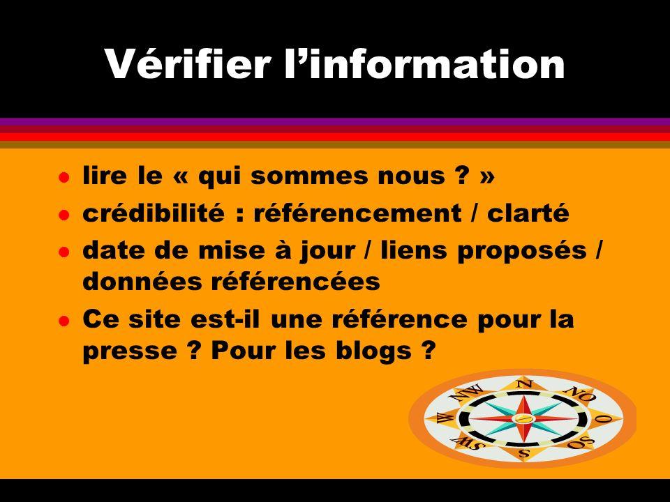 Vérifier l'information