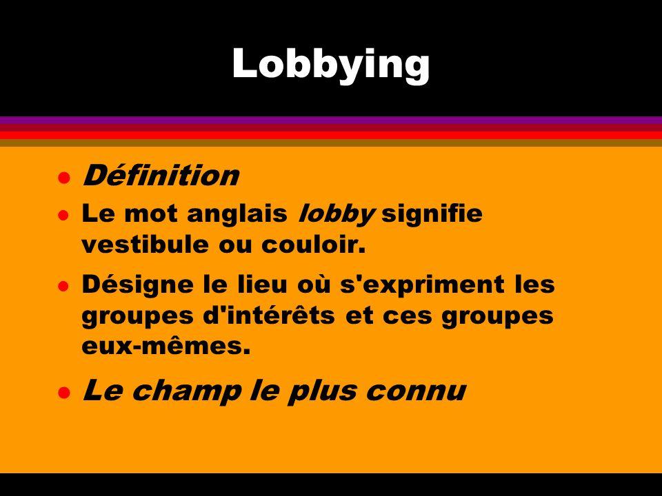 Lobbying Définition Le champ le plus connu