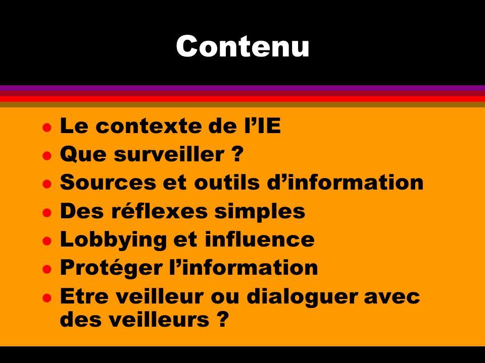 Contenu Le contexte de l'IE Que surveiller
